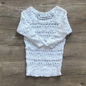 Garage White Wide Hole Crochet Knit Sleeve Sweater